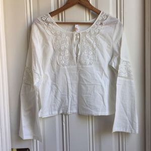 Lucy White Long Sleeve Peasant Blouse